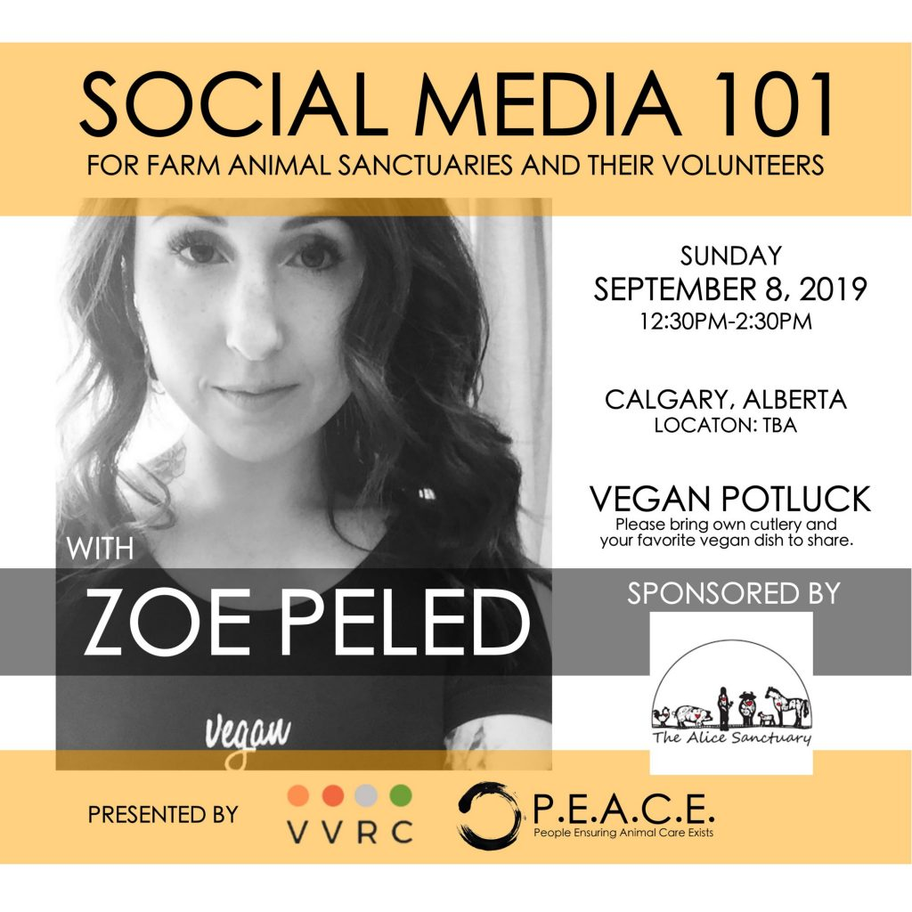 SOCIAL MEDIA 101 FOR FARM ANIMAL SANCTUARIES AND THEIR VOLUNTEERS  SEPTEMBER 8, 2019 CALGARY, ALBERTA