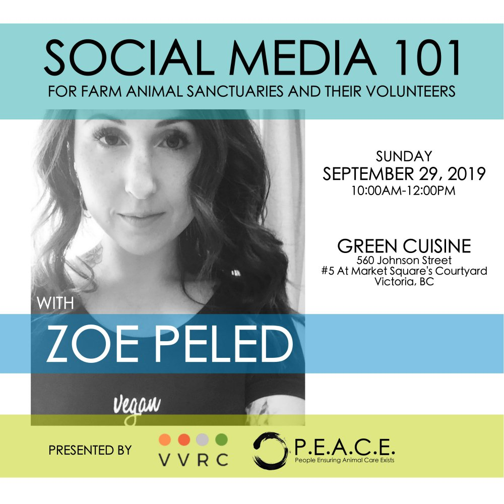 SOCIAL MEDIA 101 FOR FARM ANIMAL SANCTUARIES AND THEIR VOLUNTEERS  SEPTEMBER 29, 2019 VICTORIA, BC